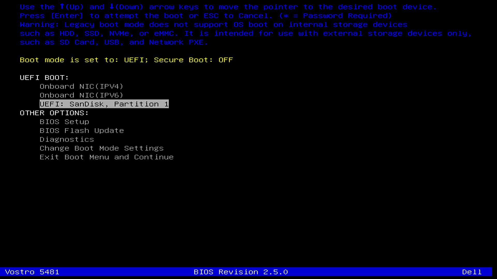 Selecione Boot por USB